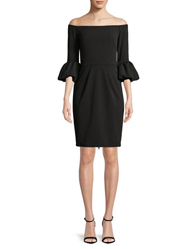 Betsy & Adam Off-The-Shoulder Sheath Dress-BLACK-2