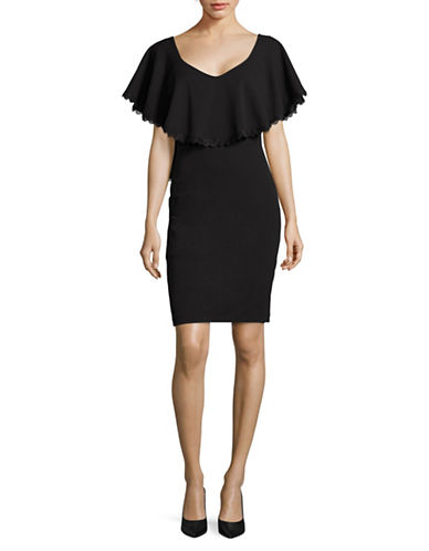 Betsy & Adam Lace-Trim Popover Sheath Dress-BLACK-4