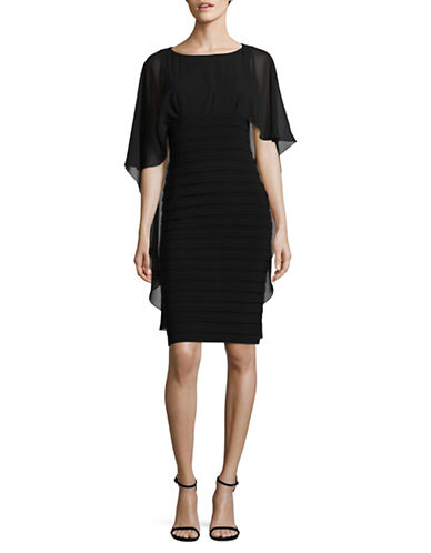 Betsy & Adam Pleated Sheath Dress with Chiffon Cape Overlay-BLACK-14