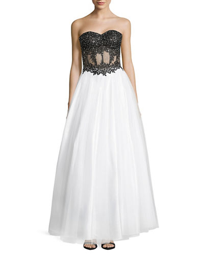 Betsy & Adam Strapless Soutache Lace and Tulle Gown-BLACK/WHITE-8