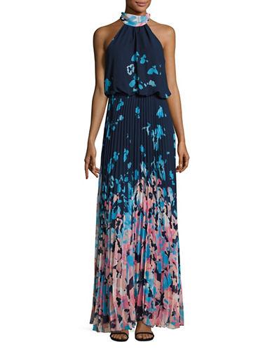 Betsy & Adam Printed Chiffon Halter-Neck Dress-BLUE MULTI-14