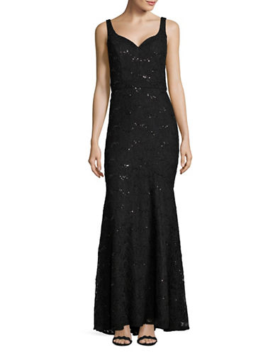 Betsy & Adam Sequined Lace Mermaid Gown-BLACK-8