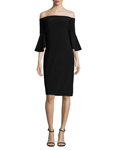 Betsy & Adam Bell Sleeve Sheath Dress-BLACK-8