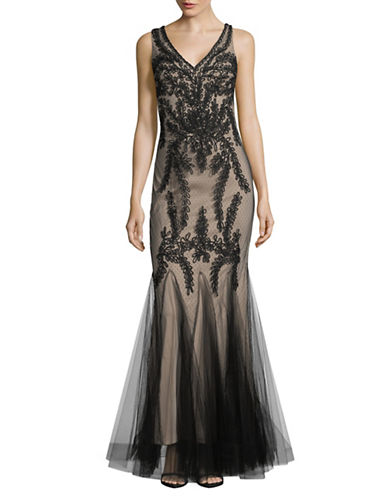 Betsy & Adam V-Neck Mermaid Gown-BLACK-8