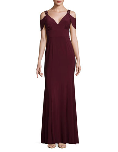 Betsy & Adam Cold-Shoulder Sweetheart Neck Gown-RED-12