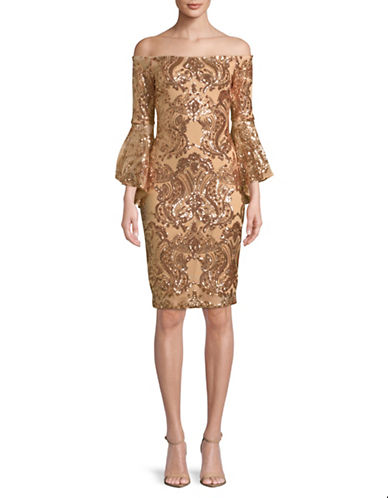 Betsy & Adam Sequin Off-The-Shoulder Sheath Dress-CHAMPAGNE-10