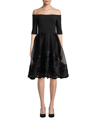 Betsy & Adam Off-The-Shoulder Mesh Overlay Dress-BLACK-8