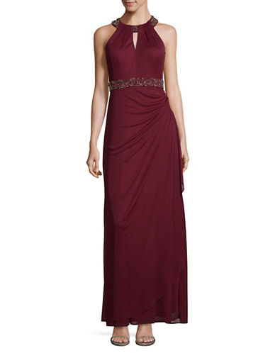 Betsy & Adam Beaded Halter Neck Gown-RED-14