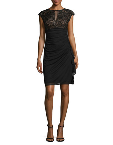 Betsy & Adam Sequined Lace Keyhole Dress-BLACK/NUDE-8