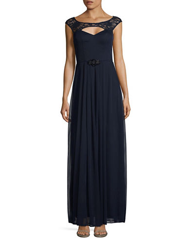 Betsy & Adam Lace Keyhole Fit-and-Flare Gown-BLUE-4