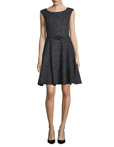 Betsy & Adam Glitter Knit Cocktail Dress-GREY-12