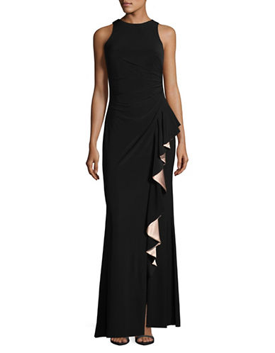 Betsy & Adam Satin Ruffle Sheath Gown-BLACK-2