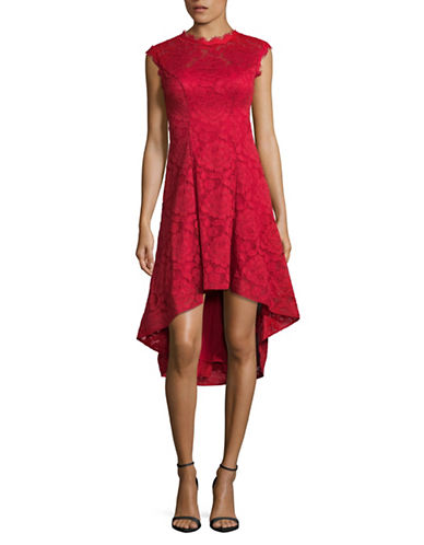 Betsy & Adam Hi-Lo Fit-And-Flare Lace Dress-RED-8