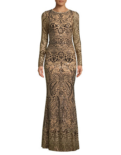 Betsy & Adam Bronze Metallic Floor-Length Gown-BRONZE-4