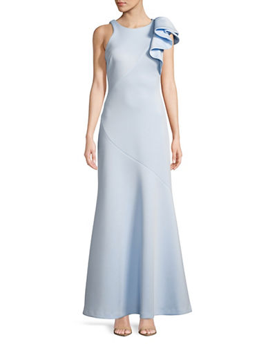 Betsy & Adam Scuba Ruffle Shoulder Gown-BLUE-2