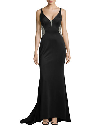 Betsy & Adam Embellished Plunge Mermaid Gown-BLACK-4
