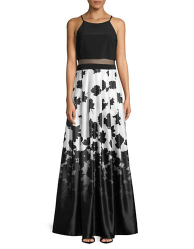 Betsy & Adam Printed Popover Gown-BLACK/WHITE-0