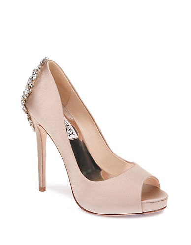 Badgley Mischka Kiara Satin Platform Pump-LATTE-7.5