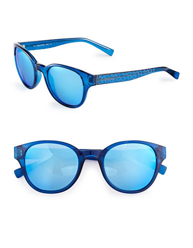 Calvin Klein 50mm R692S Wayfarer Sunglasses-CRYSTAL BLUE/BLUE MIRRORED LENSES-One Size