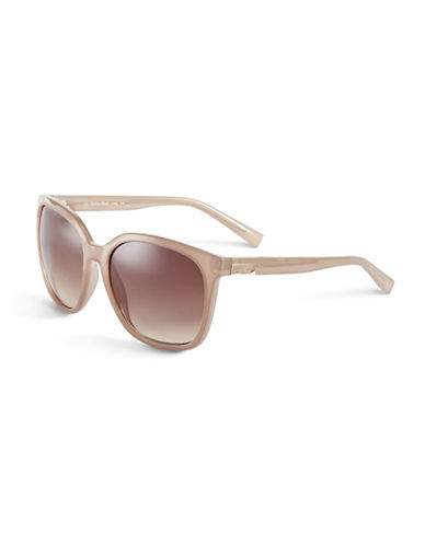 Calvin Klein 59mm R700S Square Sunglasses-SAND-One Size