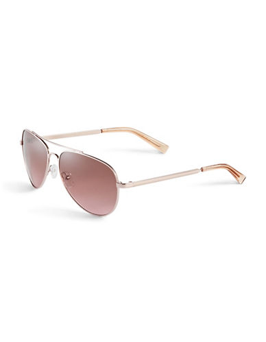 Calvin Klein 60mm R159S Aviator Sunglasses-ROSE GOLD-One Size