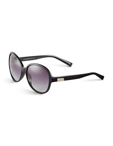 Calvin Klein 58mm R701S Round Sunglasses-BLACK-One Size