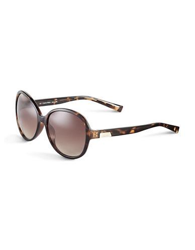 Calvin Klein 58mm R701S Round Sunglasses-TORTOISE-One Size