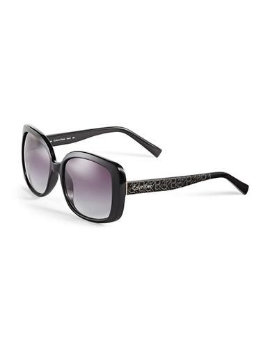 Calvin Klein 56mm R693S Square Sunglasses-BLACK-One Size