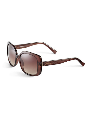 Calvin Klein 56mm R693S Square Sunglasses-CRYSTAL BROWN-One Size