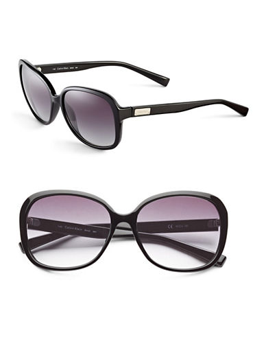 Calvin Klein Oversized 58mm Round Sunglasses-BLACK-One Size