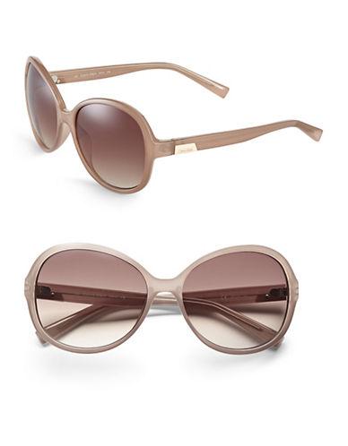Calvin Klein 58mm R701S Round Sunglasses-SAND-One Size