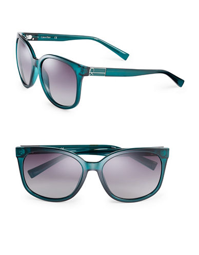 Calvin Klein 57mm Oversized Wayfarer Sunglasses-TEAL-One Size