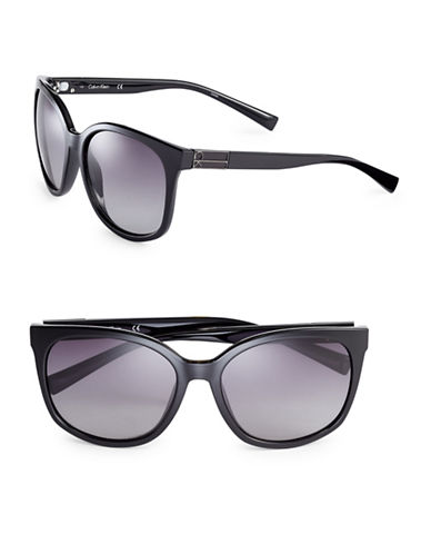 Calvin Klein 57mm Oversized Wayfarer Sunglasses-BLACK-One Size