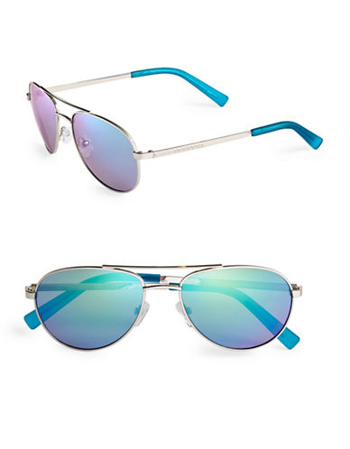 Calvin Klein 55mm Mirrored Aviator Sunglasses-SILVER / BLUE-One Size