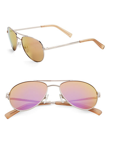 Calvin Klein 55mm Mirrored Aviator Sunglasses-ROSE GOLD-One Size
