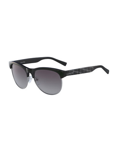 Calvin Klein White Label 56mm Round Sunglasses-BLACK-One Size