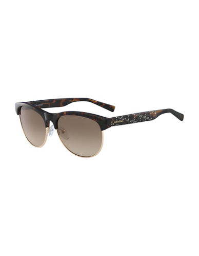 Calvin Klein White Label 56mm Round Sunglasses-BROWN-One Size