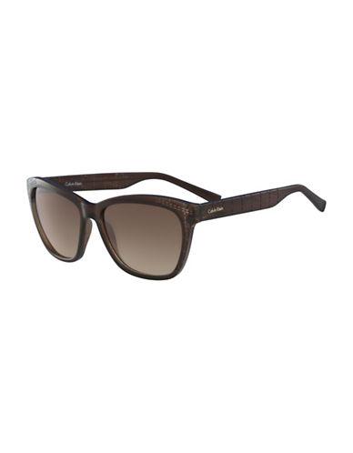 Calvin Klein White Label Square 58 mm Sunglasses-BROWN-One Size