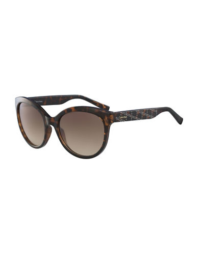 Calvin Klein White Label Oval 58 mm Sunglasses-BROWN-One Size