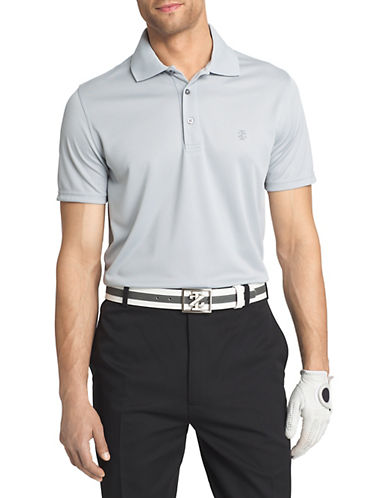 Izod Grid-Knit Golf Polo-GREY-Medium