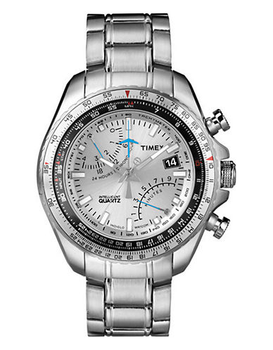 Timex Men's Intelligent Quartz Aviator FlyBack Chronograph Watch silver One Size