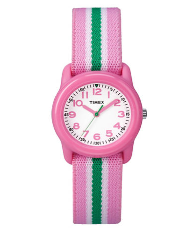 Timex Youth Analog Striped Fabric Strap Watch-PINK-One Size