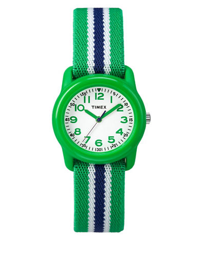 Timex Youth Analog Striped Fabric Strap Watch-GREEN-One Size
