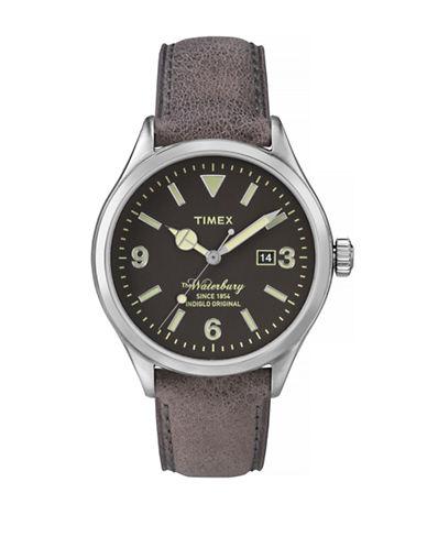 Timex Waterbury Leather Strap Analog Watch-BLACK-One Size