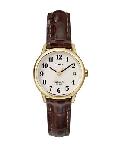 Timex Easy Reader Brown Leather Strap Watch-BROWN-One Size