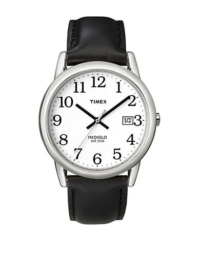 Timex Easy Reader Black Leather Strap Watch-BLACK-One Size