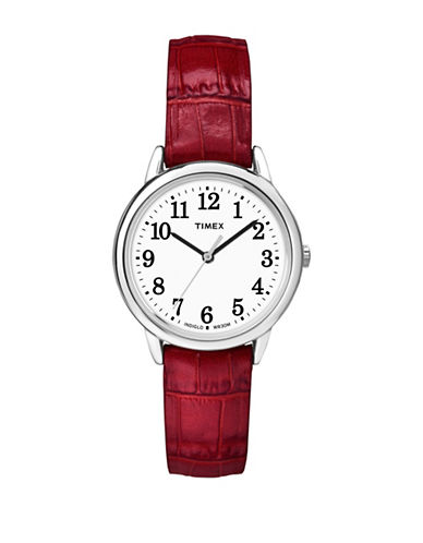 Timex Analog Reader Stainless Steel Red Leather Strap Watch-SILVER-One Size