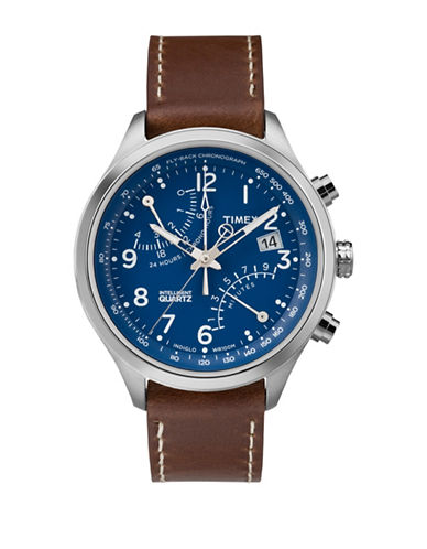 Timex Chronograph Intelligent Quartz Leather Strap Watch-BROWN-One Size