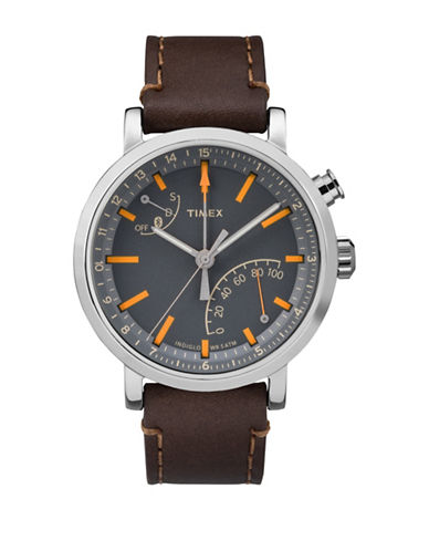 Timex Chronograph Metropolitan  Leather Strap Watch-BROWN-One Size