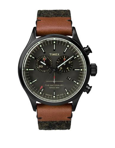 Timex Chronograph Waterbury Leather Strap Watch-GREY-One Size